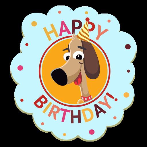 Happy birthday panda cap badge sticker illustration