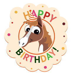 Happy birthday penguin cap badge sticker illustration