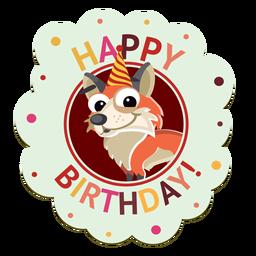 Feliz aniversário porco cap emblema autocolante ilustração