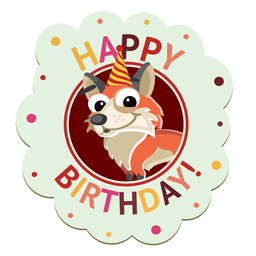 Happy birthday pig cap badge sticker illustration