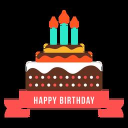 Feliz aniversário fita bolo vela fogo plana