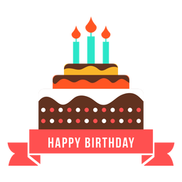 Feliz cumpleaños cinta pastel vela fuego plano