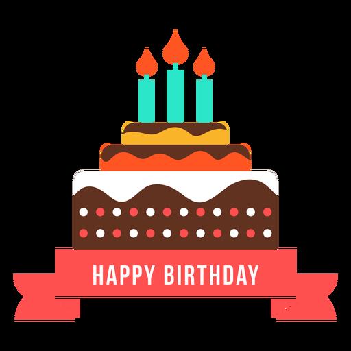 Feliz aniversário fita bolo vela fogo plana Transparent PNG