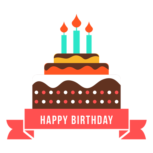 Happy birthday ribbon cake candle fire flat Transparent PNG