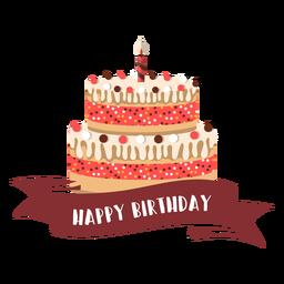 Feliz aniversário fita bolo vela fogo ilustração