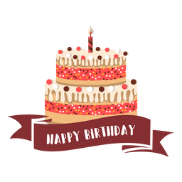Happy birthday ribbon cake candle fire illustration
