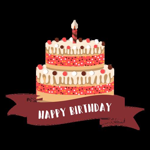Feliz cumpleaños cinta pastel vela fuego ilustración Transparent PNG
