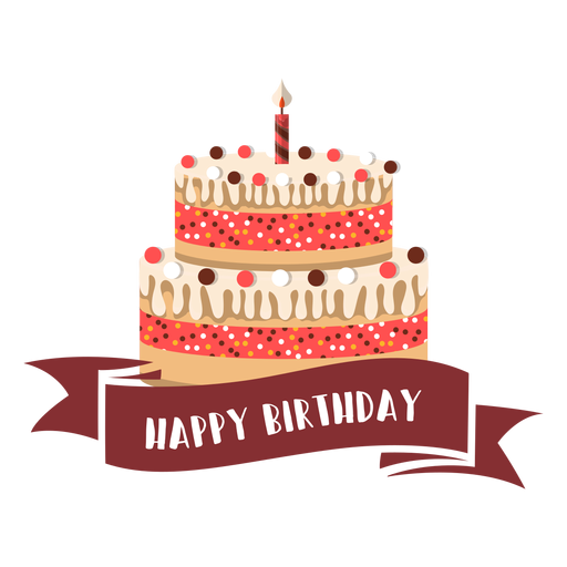 Happy birthday ribbon cake candle fire illustration Transparent PNG