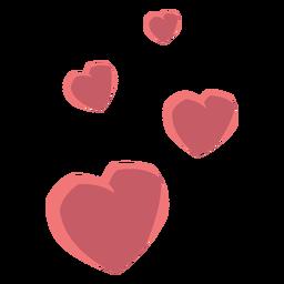 Herz vier lieben flach