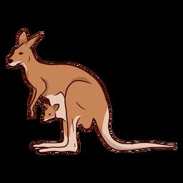 Canguru, canguru, bebê, orelha, rabo, perna, ilustração