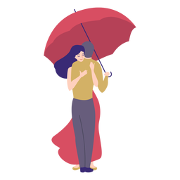 Señora hombre abrazo paraguas plana