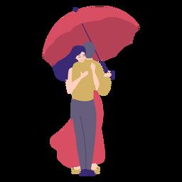 Senhora homem abraço guarda-chuva plana