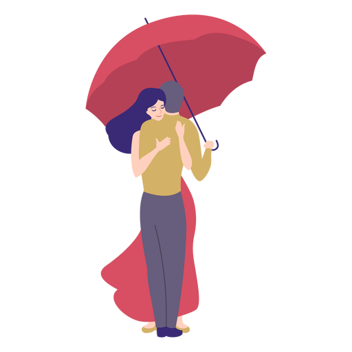 Lady man embrace  umbrella flat Transparent PNG