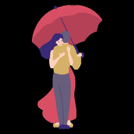 Senhora homem abraço guarda-chuva plana Transparent PNG