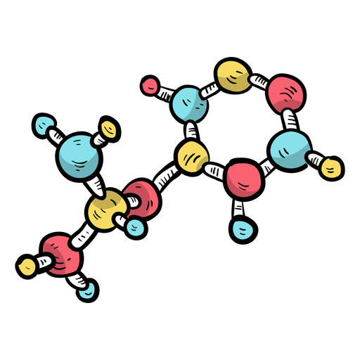 Célula de modelo de molécula plana Transparent PNG