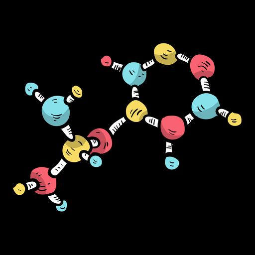 Molécula modelo de célula plana. Transparent PNG
