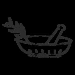 Esboço de doodle de ramo de pilão de argamassa