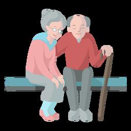 Mulher velha, homem velho, par, banco, cana, walkingstick, ilustração