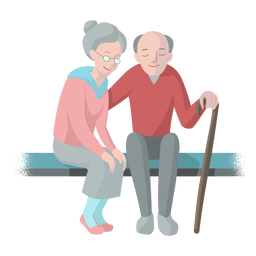 Old woman old man couple bench cane walkingstick illustration