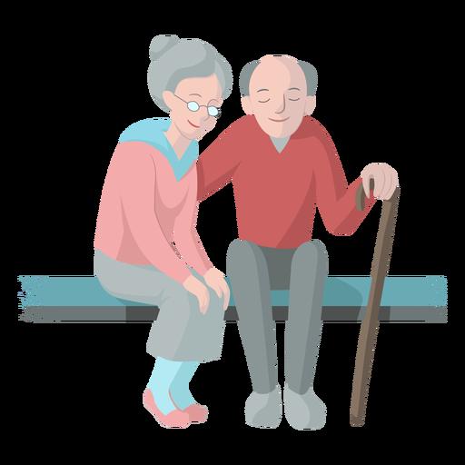 Mulher velha, homem velho, par, banco, cana, walkingstick, ilustração Transparent PNG