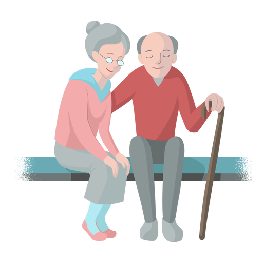 Old woman old man couple bench cane walkingstick illustration Transparent PNG