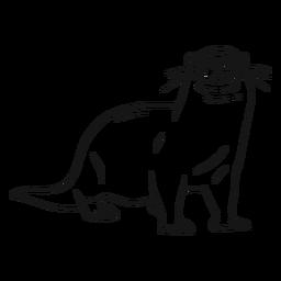 Otter-Mündungsbein-Schwanz-Whiskerskizze