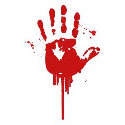 Huella dactilar de palma silueta de sangre