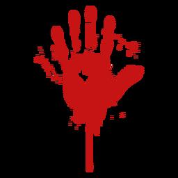 Silueta de sangre de huella digital de palma