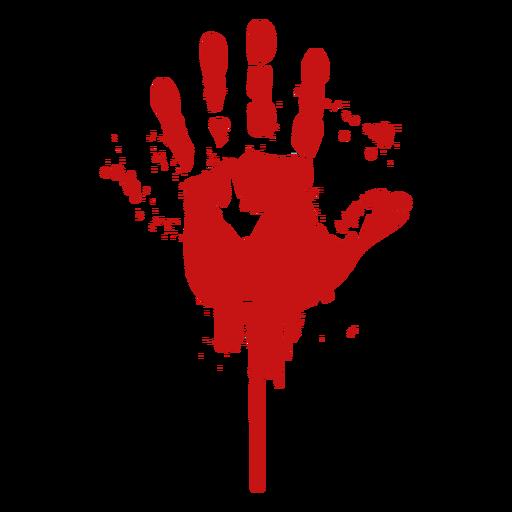 Palm finger print blood silhouette