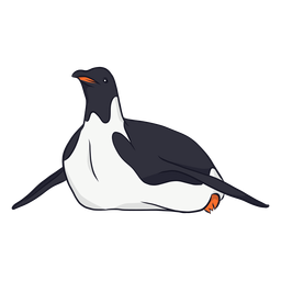 Penguin wing beak crawling illustration