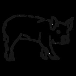 Bosquejo de pezuña de oreja de hocico de cerdo