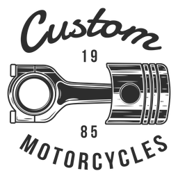 Insignia de motocicleta de texto de pistón