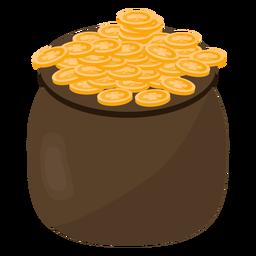 Olla moneda trébol de oro plana