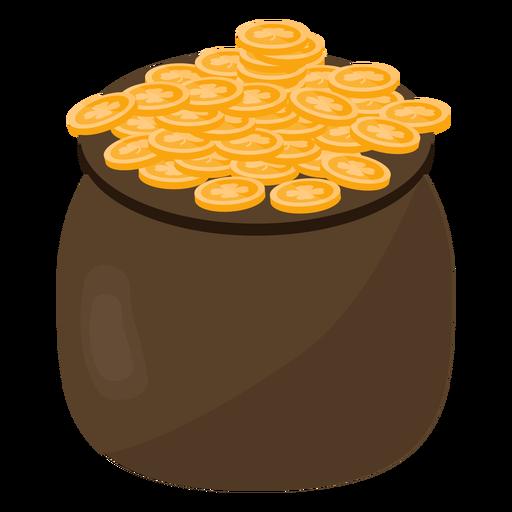 Pot coin gold clover flat Transparent PNG