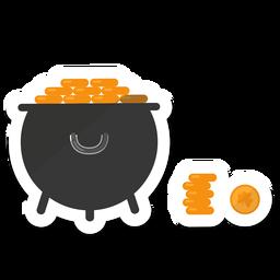 Etiqueta de trevo de ouro de moeda de pote