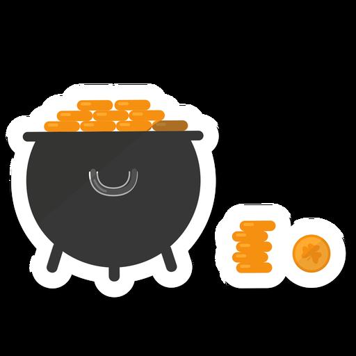 Etiqueta de trevo de ouro de moeda de pote Transparent PNG