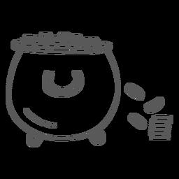 Doodle de ouro de moeda de panela