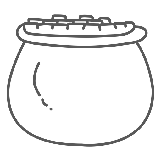 Pot gold coin doodle Transparent PNG