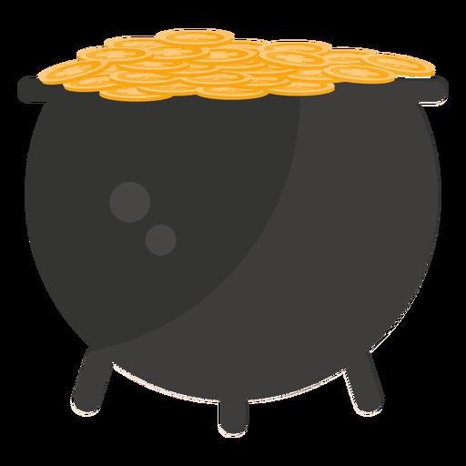 Pot gold coin flat Transparent PNG