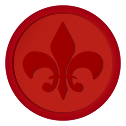 Sello insignia moneda lirio ilustración