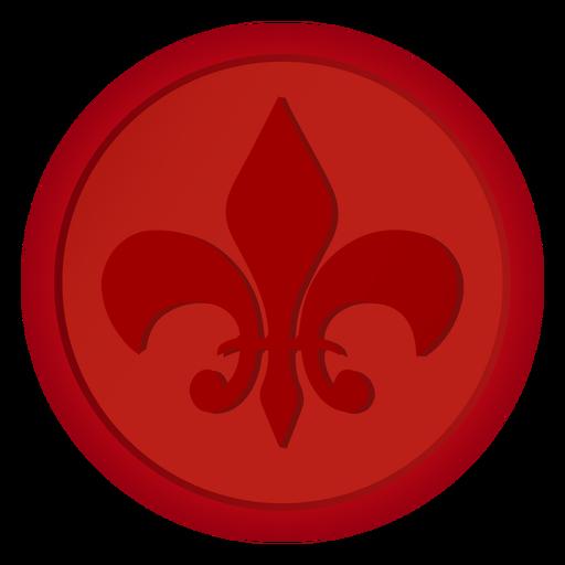 Ilustração de lírio de moeda com emblema de selo