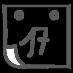 Doodle de dezessete calendário