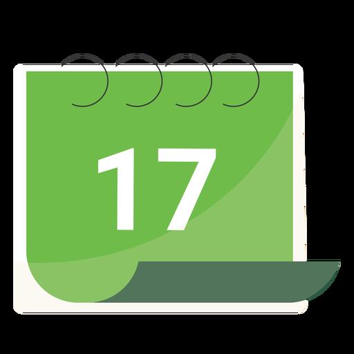 Diecisiete calendario plano Transparent PNG