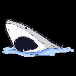 Tiburón boca mandíbula diente mar ilustración