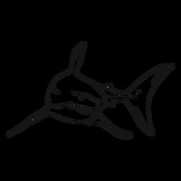 Dibujo de cola de aleta diente de tiburón
