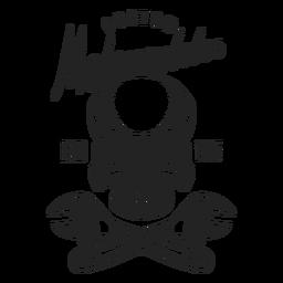 Emblema do motocycle do texto da chave de chave inglesa do crânio