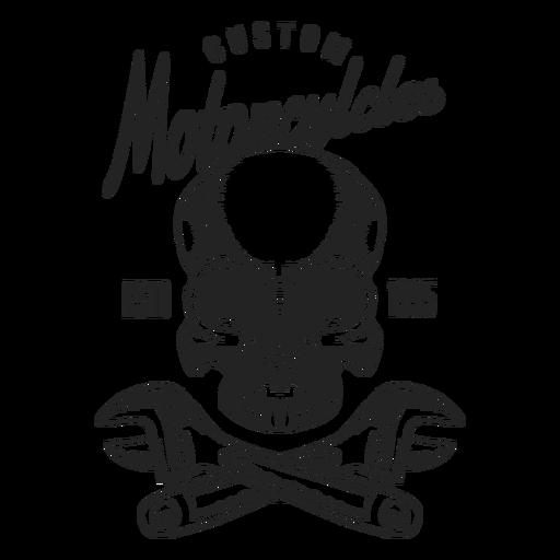 Emblema do motocycle do texto da chave de chave inglesa do crânio Transparent PNG