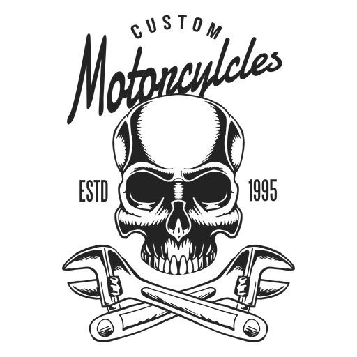 Skull spanner wrench text motocycle badge Transparent PNG