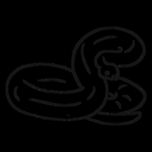 Snake twisting tail sketch Transparent PNG