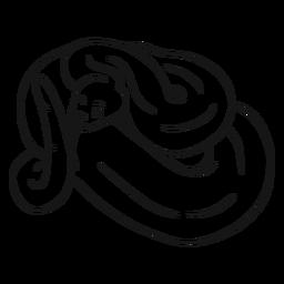 Boceto de lengua de cola de serpiente retorciendo